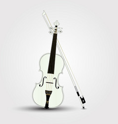 white violin and bow with shadow vector image