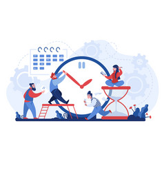 work time men and women organizing workflow busy vector image