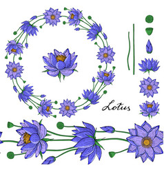 wreath and seamless brush from lotus flowe vector image