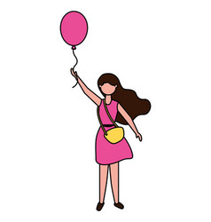 young woman holding party balloon vector image