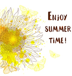 Abstract summer background with sunflower vector image