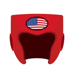 Boxing helmet with the flag of America Red vector image