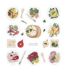 collection of hand drawn colorful dishes of asian vector image vector image