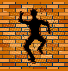 human silhouette hole in brick wall pop art vector image