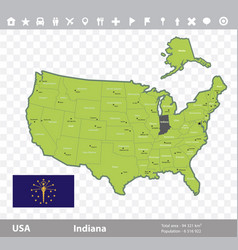 indiana flag and map vector image