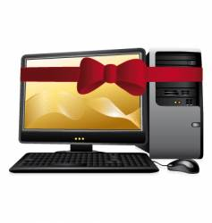 Personal computer with red bow vector