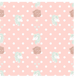 cute pattern unicorn and old rose vector image vector image