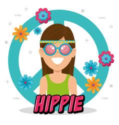 happy hippie woman cartoon vector image