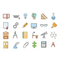 School elements icons set vector image