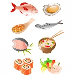 Set of seafood icons vector