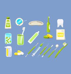 dentist tools sett dental care equipment teeth vector image