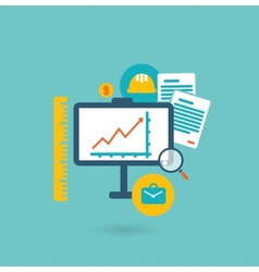 Flat design concept for construction vector image