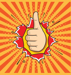 hand ok sign comic pop art style vector image