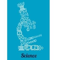 Science conceptual microscope shape emblem vector image