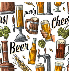Seamless pattern beer tap hand hold glass bottle vector