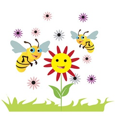 Bees over the flowers vector image vector image