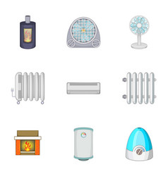 devices for heating and cooling houses icons set vector image
