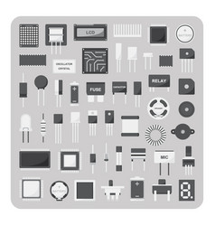 flat icons electronic circuit board set vector image