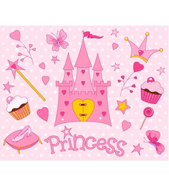princess icons vector image vector image