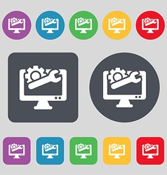 repair computer icon sign A set of 12 colored vector image