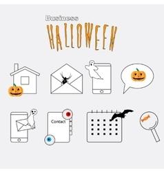Thin lines web icons set Halloween theme vector image