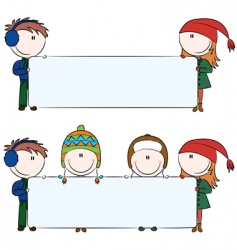 winter kids with blank banners vector image vector image