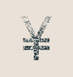 yen symbol grunge style icon vector image vector image