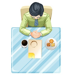 A topview of a man at the table vector