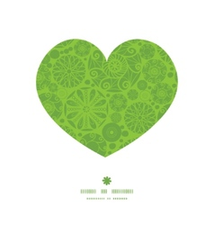 Abstract green and white circles heart silhouette vector
