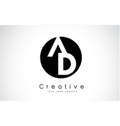 ad letter logo design inside a black circle vector image