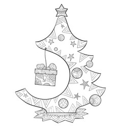Adult coloring bookpage a christmas fir tree vector