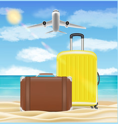 air plane flying to sea with beach travel object vector image