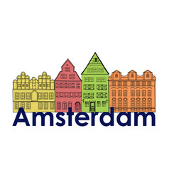 amsterdam canal houses netherlands symbol travel vector image