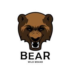 angry roaring bear head mascot vector image