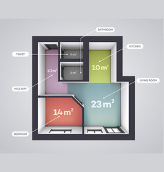 Architectural color floor plan one bedroom studio vector