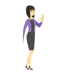 asian business woman showing palm hand vector image