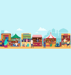 Asian street market flat vector