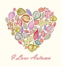 Autumn card design with heart made of leaves vector image