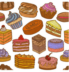 Background with sweets in hand drawn doodle style vector