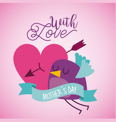 bird pierced heart arrow ribbon mother day card vector image