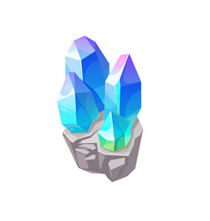blue magic crystal gem jewel rock mineral vector image