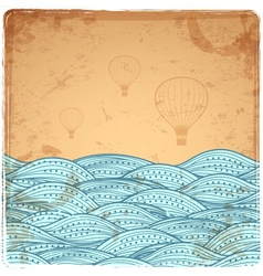 Blue Vintage Waves vector image