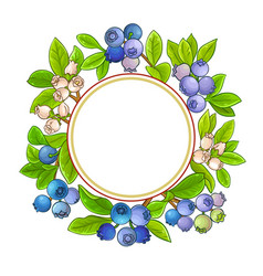 Blueberry frame on white background vector