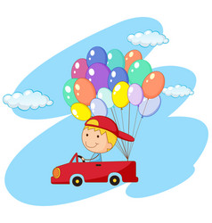 Boy driving red car with balloons vector