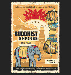 Buddhism religion poster tibet temples vector