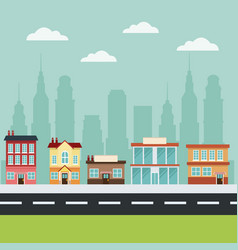 Building main street city commercial cityscape vector