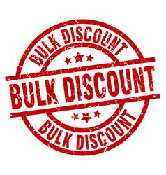 Bulk discount round red grunge stamp vector