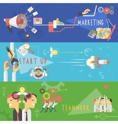 Business marketing flat banners set vector