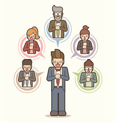businessman meeting with team smart phone vector image