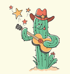 cactus christmas playing the guitar hand drawn vector image
